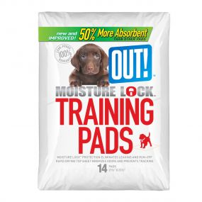 Out Pet Care Moisture Lock Training Pads, Pack of 14 Pads, 22 x 22 inch