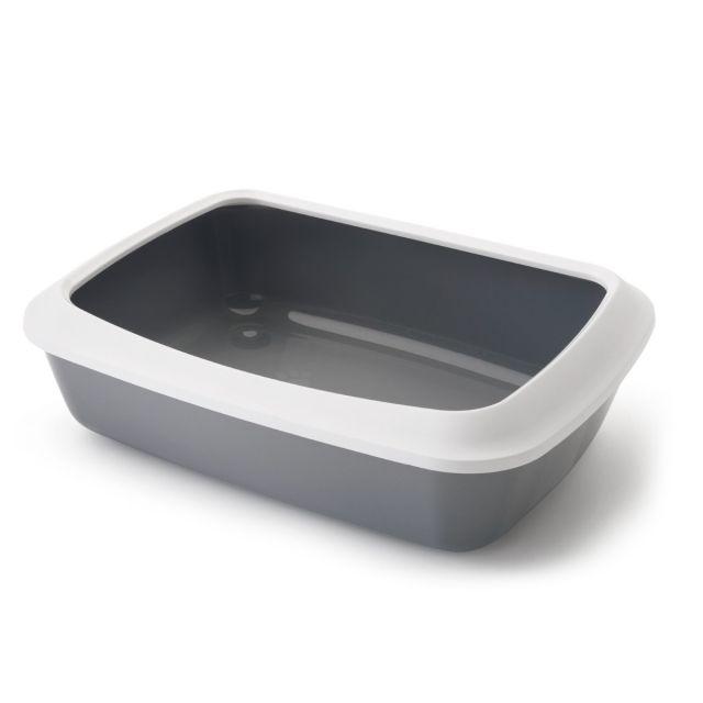 Savic Iriz Cat Litter Tray with Rim Cold Grey - 43.18 cm