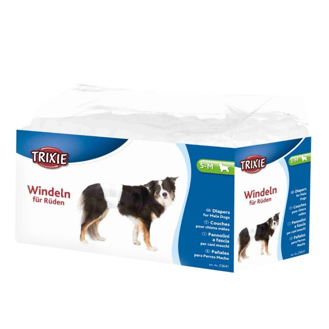 Trixie Diapers for Male Dogs, Disposable, S-M, 30-46cm, 12pcs