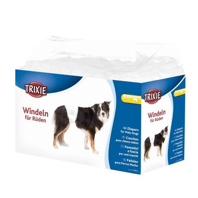 Trixie Diapers for Male Dogs, Disposable, M-L, 40-60cm, 12pcs