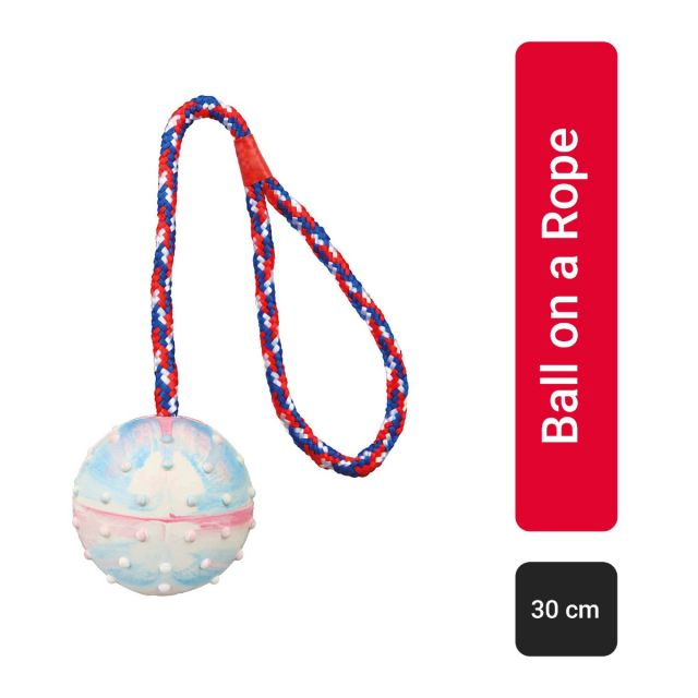 Trixie Ball on a Rope Natural Rubber Dog Toy - 30 cm