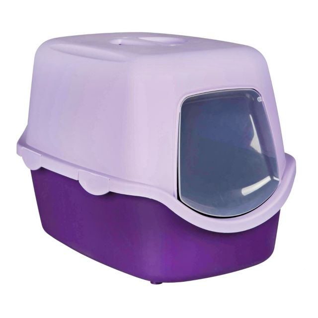 Trixie Vico Cat Litter Tray with Dome, 23x16x16 inch, Purple/Lilac