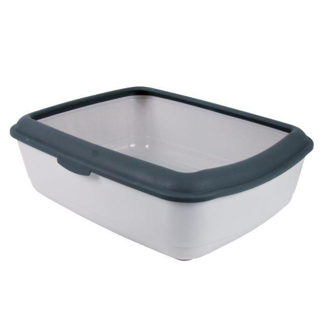 Savic Iriz Cat Litter Tray with Rim Light Grey - 50.8 cm