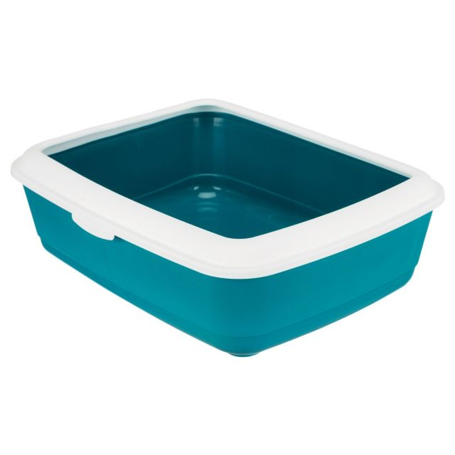 Trixie Classic Cat Litter Tray With Rim Petrol/White - 50.8 cm