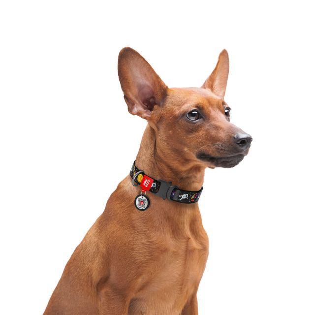 "Waudog Nylon Dog Collar With Metal Fastex-Buckle - ""Nasa"" Pattern, (Width  15 Mm, Length   23-35 cm)"
