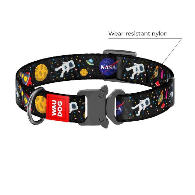 "Waudog Nylon Dog Collar With Metal Fastex-Buckle - ""Nasa"" Pattern, (Width 25 Mm, Length 35-58 cm)"