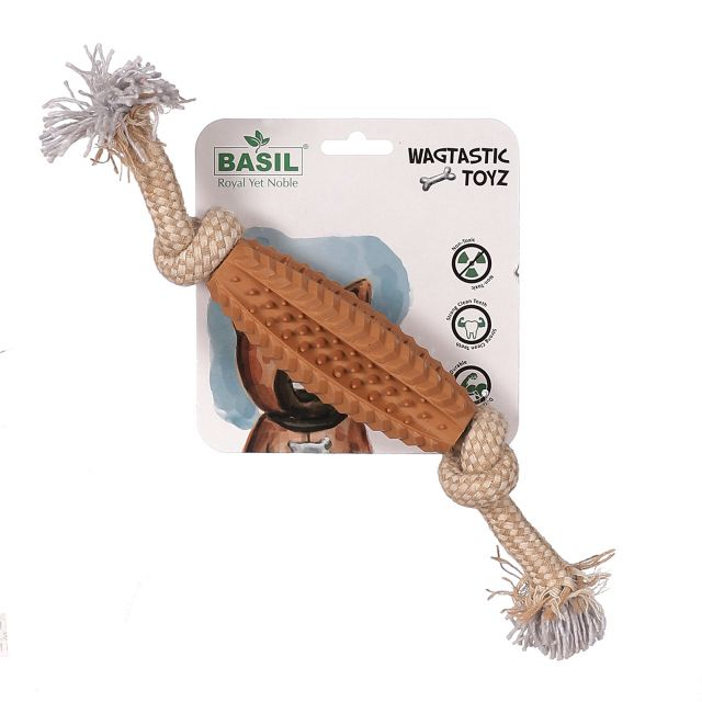Basil Jute Rope with Spike TPR Interactive Toy