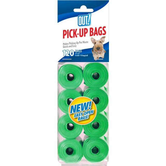 Out Pet Care Green Colored Waste Pick-Up Bags - 120 Bags