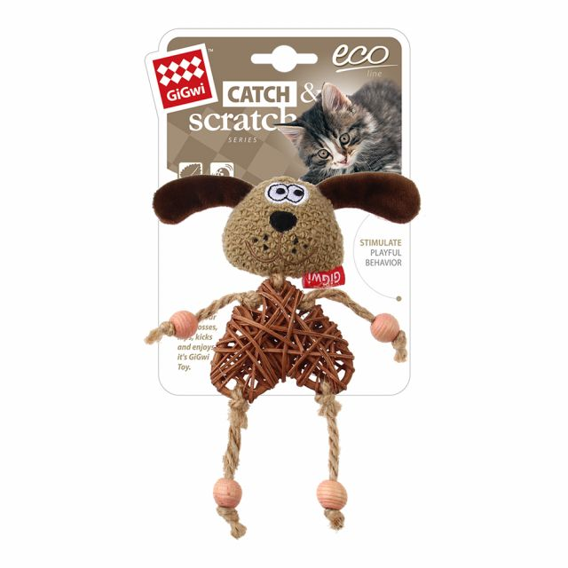 GiGwi Eco Line Dog 'Catch & Scratch' with catnip Rattan/Wood/Plush Brown/Natural