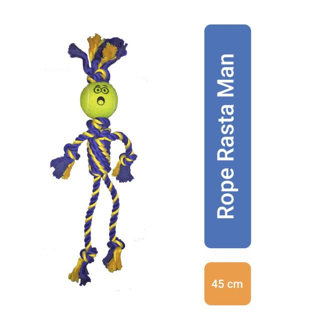 Petsport Braided Rope Rasta Man with Tennis Ball Dog Toy - Medium