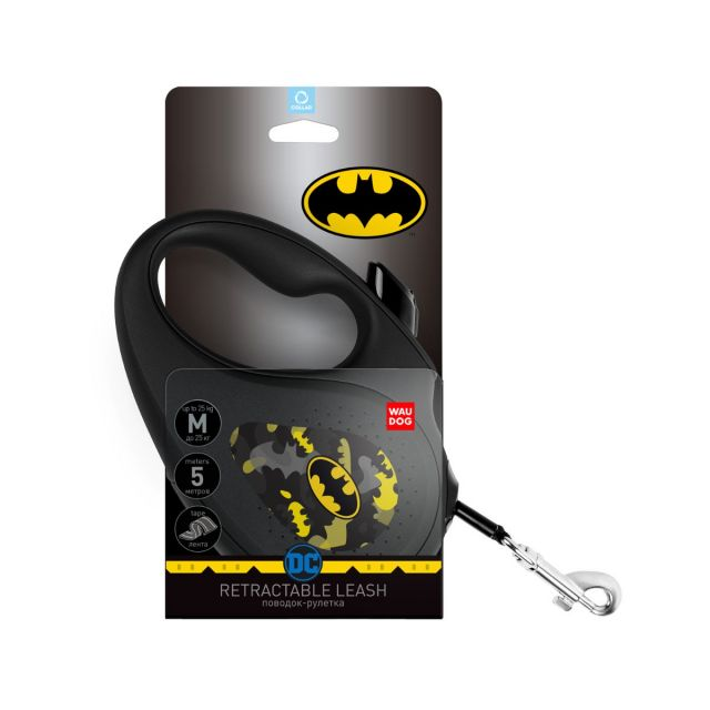 """Retractable dog leash WAUDOG with pattern """"Batman Pattern"""", size M, up to 25 kg, 5 m"""