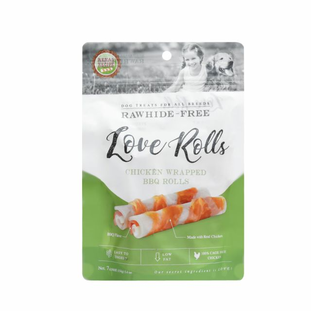 Rena LOVE Chicken Wrapped Barbeque Rolls Dog Treat - 154 gm (7 Pieces)