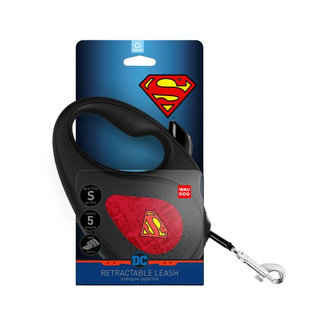 """Waudog Retractable Dog Leash - """"Superman Logo Red"""" Pattern (Size S)"""