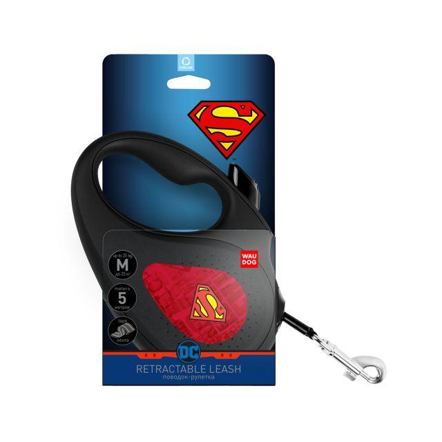 "Waudog Retractable Dog Leash - ""Superman Logo Red"" Pattern (Size M)"