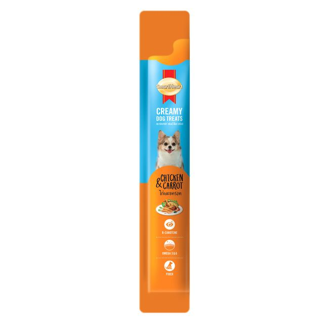 SmartHeart Chicken & Carrot Creamy Dog Treat - 15 gm (Pack Of 4)