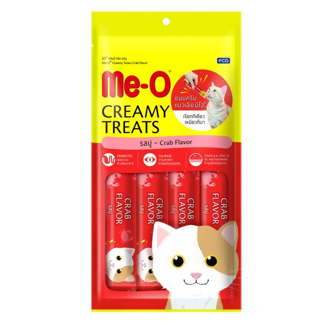 Me-O Crab Flavor Creamy Cat Treat 15 gm (Pack Of 4)