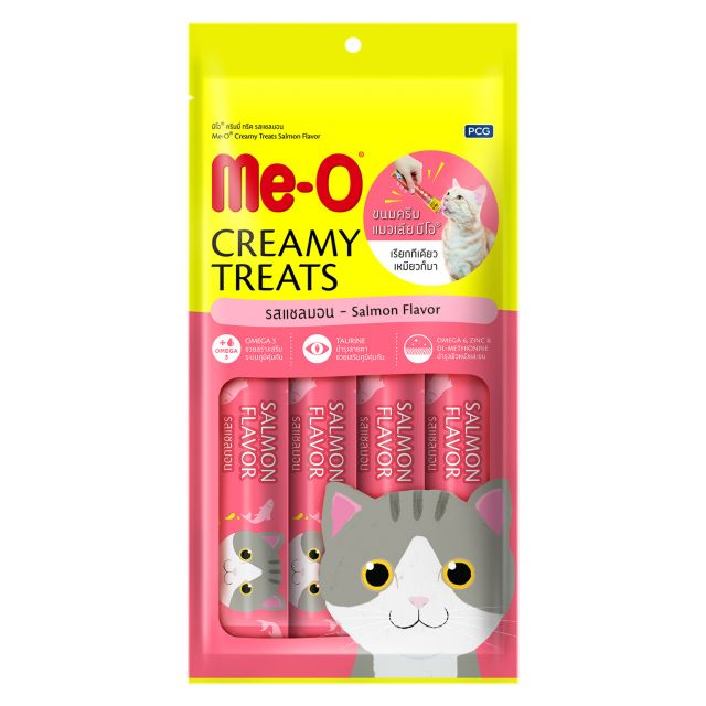 Me-O Salmon Flavor Creamy Cat Treats 15 gm (Pack Of 4)